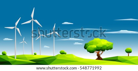 landscape with wind farm in