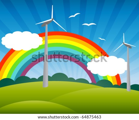 landscape with windmills, a rainbow, birds and clouds