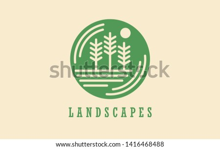 Landscapes service tree environment nature. Vector logo design illustration icon for parks and landscapes business. Countryside forest scenery nature conservation. Ecology park garden grass.