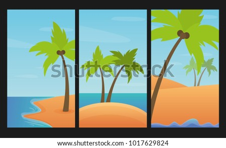 Landscapes set with palms, sand and sea. Summer vector illustration