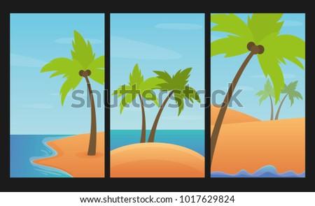 Landscapes set with palms, sand and sea. Summer vector illustration. Design element for flyer, brochure, web banner, poster etc