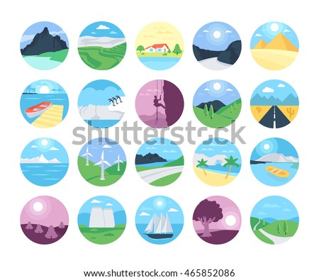 landscapes vector icons 2
