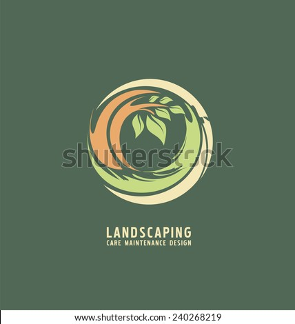 Landscaping logo design concept. Abstract illustration with tree in the circle. Park theme symbol. Icon template for gardening business.