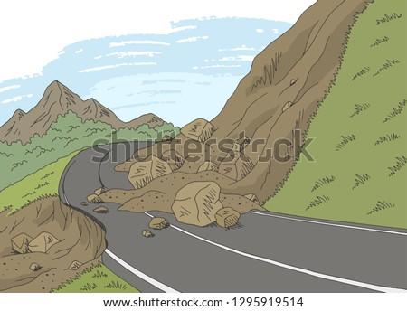 Landslide graphic color mountains landscape sketch illustration vector Foto stock ©