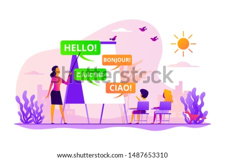 Language courses, classes teacher, native speaker. Kids speaking club. Language learning camp, summer language program, learn foreign languages concept. Vector isolated concept creative illustration