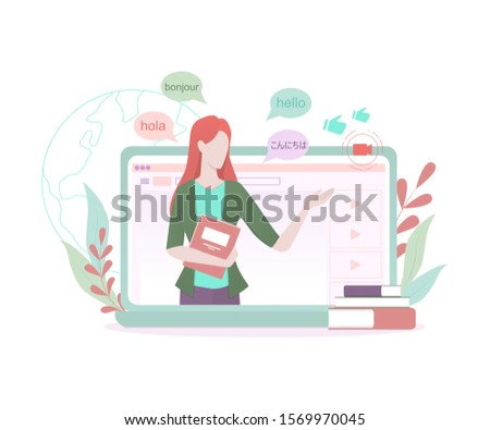 Language learning blogger concept. Study foreign languages on video channel. English lesson with native speaker. Idea of social media and network. Vector illustration in cartoon style ストックフォト ©