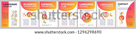Language learning brochure template layout. Business, express courses. Flyer, booklet, leaflet print design. Speaking club and language school. Vector page layouts for magazines, reports, posters