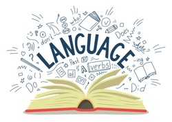 Language. Open book with language hand drawn doodles and lettering on white background. Education vector illustration