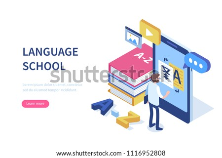 Language school concept banner with character. Can use for web banner, infographics, hero images. Flat isometric vector illustration isolated on white background.