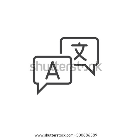 Language translation line icon, outline vector sign, linear pictogram isolated on white. logo illustration