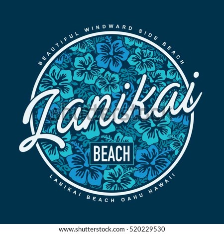 Lanikai surf beach typography, t-shirt graphics, vectors