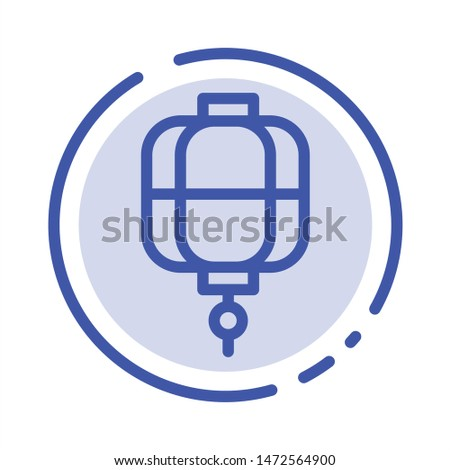 Lantern, China, Chinese, Decoration Blue Dotted Line Line Icon