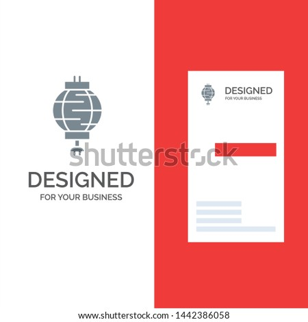 Lantern, China, Chinese, Decoration Grey Logo Design and Business Card Template
