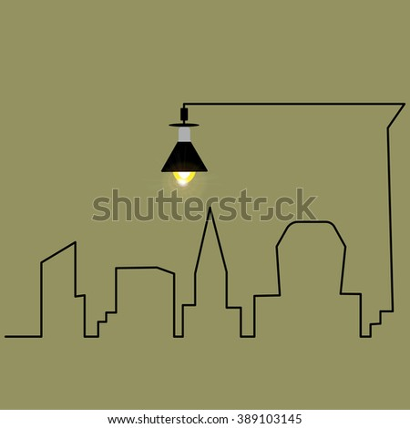lantern city vector icon