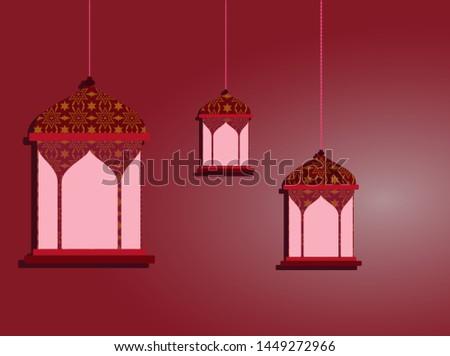 Lantern decoration on red background, lantern arabic vector. lantern illustration.