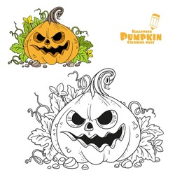 Lantern from pumpkin with the cut out of a grin and leaves color and outlined for coloring page