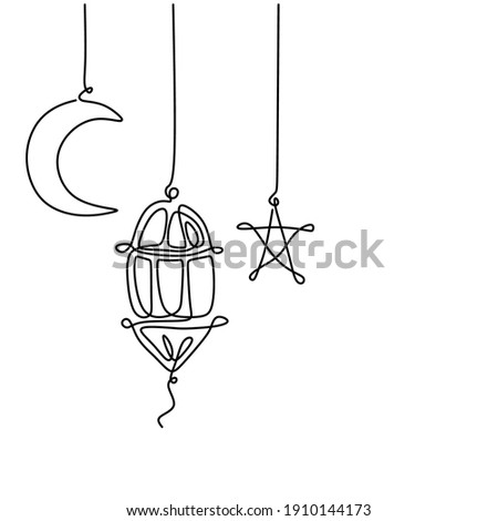 Lantern, half moon and star. Ramadan Kareem theme minimal one continuous line drawing on white background. Single line art of Eid Mubarak greeting card, poster and banner design. Vector illustration