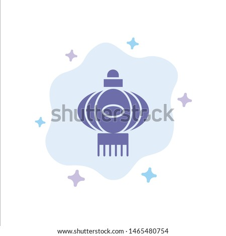 Lantern, Light, China, Chinese Blue Icon on Abstract Cloud Background. Vector Icon Template background