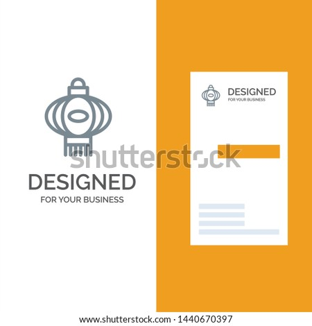 Lantern, Light, China, Chinese Grey Logo Design and Business Card Template