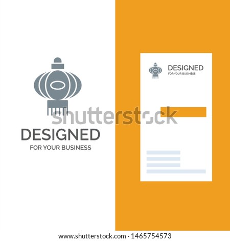Lantern, Light, China, Chinese Grey Logo Design and Business Card Template. Vector Icon Template background