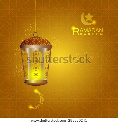 Lantern on Islamic typical pattern in gold color. - Shutterstock ID 288850241