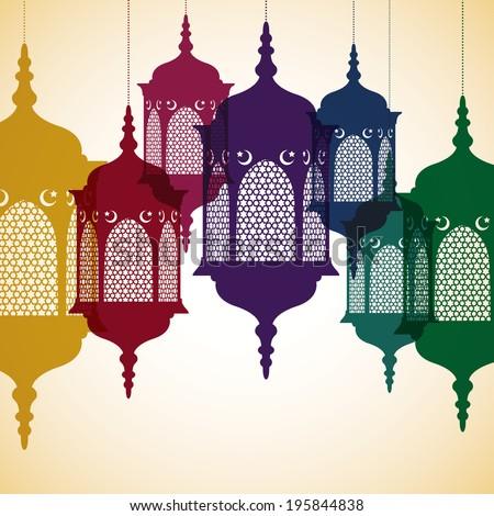 Lantern Ramadan Kareem Generous Ramadan card in vector format