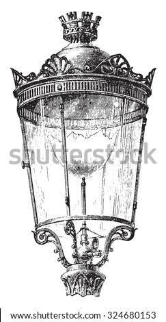 Lantern with intensive gas nozzle for lighting the streets of Paris in 1878, vintage engraved illustration. Industrial encyclopedia E.-O. Lami - 1875. Foto stock ©