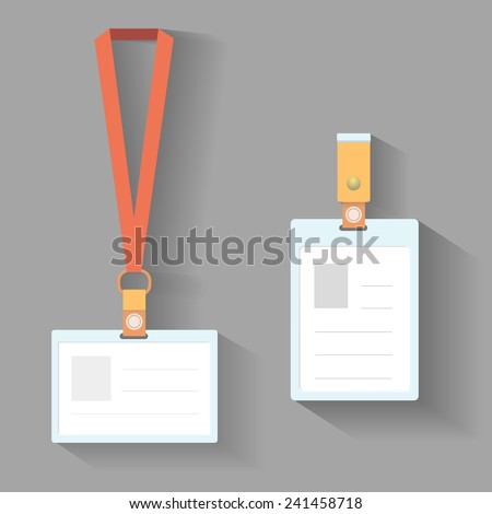 Lanyard badges template flat design with shadow