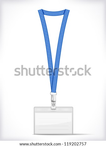 Lanyard with Tag Badge Holder isolated on white. Vector Illustration