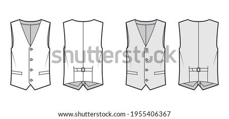 Lapelled vest waistcoat technical fashion illustration with sleeveless, notched shawl collar, button-up closure, pockets. Flat template front, back, white, grey color style. Women, men top CAD mockup Stock photo ©