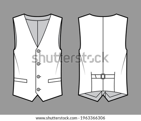 Lapelled vest waistcoat technical fashion illustration with sleeveless, notched shawl collar, button-up closure, pockets. Flat template front, back, white color style. Women, men unisex top CAD mockup Stock photo ©