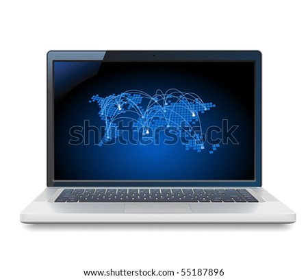 Laptop and blue World map with connections. Vector illustration for telecommunications and internet service provider.