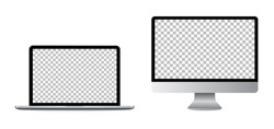 laptop and computer screen, on a white background. realistic design.