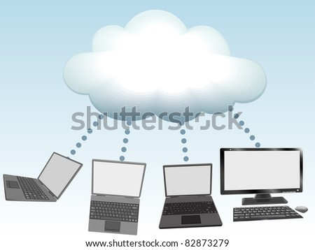Laptop and desktop computers connect to cloud computing network information technology