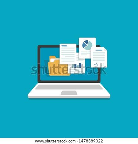 Laptop and document files,Files Attachment Email,Online communication Foto d'archivio ©
