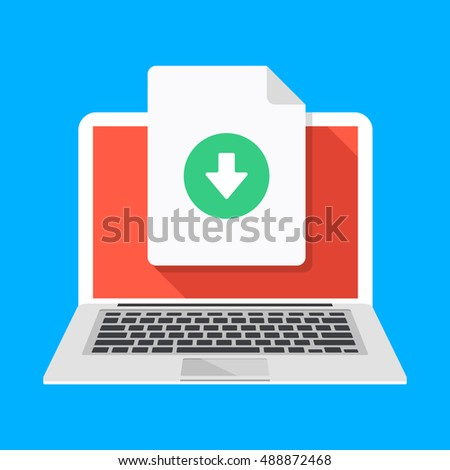 Laptop and download file icon. Document downloading concept. Trendy flat design graphic with long shadow. Vector illustration