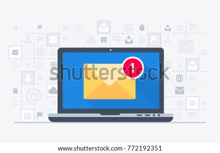 Laptop and email notification on screen in pop-up bubble. Vector illustration in flat design style.