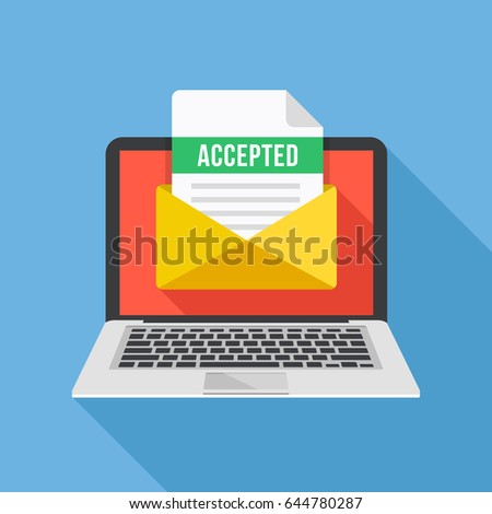 Laptop and envelope with university acceptance letter. Email with accepted header, subject line. College acceptance, admission, employment, recruitment concepts. Modern flat design vector illustration
