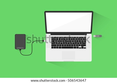 laptop and external hard drive