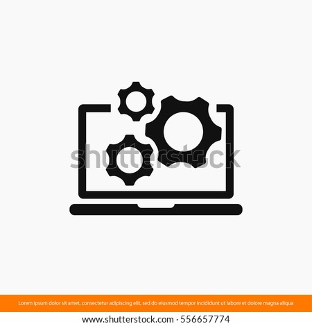 laptop and gears icon. One of set web icons