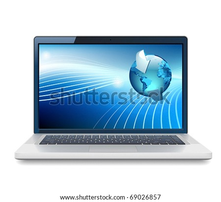 Laptop and Globe concept. Vector illustration.