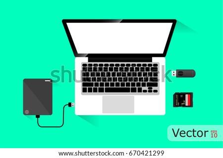 laptop and hard disk storage