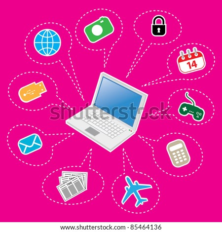 Laptop and Set of Computer and Electronics Icon