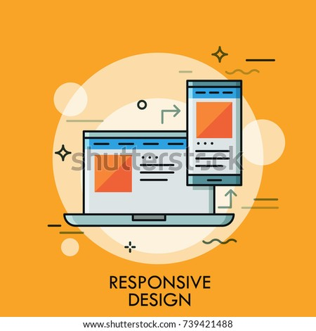 Laptop and smartphone with same application interface on screens. Concept of responsive web design, scalable page, desktop and mobile app. Modern vector illustration for website, banner, poster.