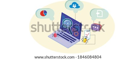 Laptop and software assisting in testing process. Automated testing, app tester. Software or application testing isometric vector concept. Debugging development process. Vector illustration. ストックフォト ©