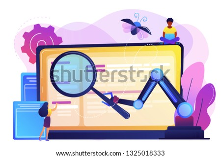 Laptop and software assisting in testing process, tiny people testers. Automated testing, automotive executed test, software auto tester concept. Bright vibrant violet vector isolated illustration Сток-фото ©