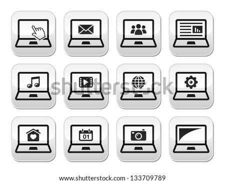 Laptop black vector buttons set
