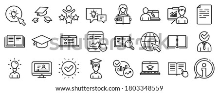 Laptop, Book and Video Tutorial icons. Education line icons. Graduation cap, Instructions and Presentation. College education or Lectures book, Charts and Idea. Laptop, video tutorial. Vector