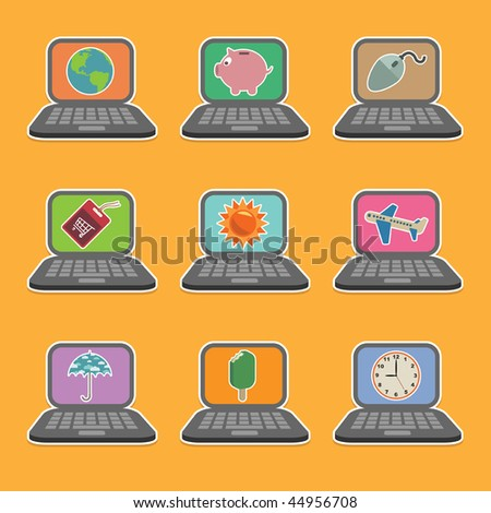 laptop computer icons with colourful holiday motifs