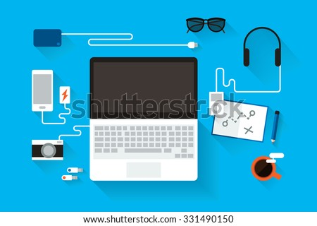 Laptop computer on table. - Shutterstock ID 331490150